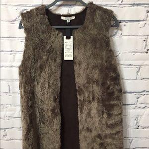 BB Dakota full length faux fur vest - small